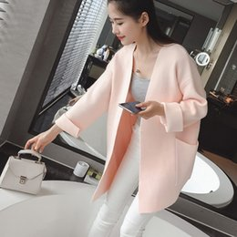 Wholesale Two Color Cardigan Sweater - Wholesale-Autumn 2016 Women's Loose Plus Size Solid Color Sweater Female Cashmere Cardigans With Two Big Pocket Outwear Jacket