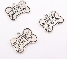 Wholesale Letter Word Pendant Necklace - 100pcs lot In Memory of My Dog Charms Pendant Antiqued Silver Tone Fit Bracelet Necklace Vintage Bone Words Jewelry Making Finding 25x18mm