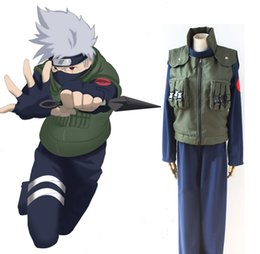 Wholesale Leaf Man Costumes - Naruto Shippuden Hatake Kakashi Cosplay Costume Full Set Leaf Village Konoha Jounin Uniform ( Vest + Top + Pants ) Ninja Uniform