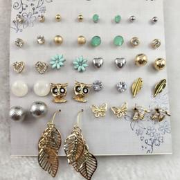 Wholesale Small Owl Stud Earrings - 20 Pairs set Cute Fashion Bird Owl Earring Blue Daisy Flower Butterfly Ear Studs Small Stud Earrings Set For Women Bijoux Brinco