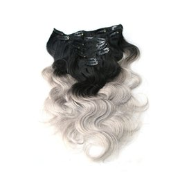 Wholesale Purple Hair Extension Clips - Ombre Clip Indian Hair Extensions T1b Purple T1b Grey T1b 27 Two Tone Clip In Human Hair Extensions Body Wave Clip In Hair