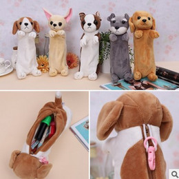 Wholesale Dogs Cosmetic - Wholesale- Creative new Plush Dog toy Pen Case Dog Pencil Bag Cute Animal dog cosmetic bag coin purse office material school supplies