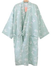 Wholesale Flowers Stories - Wholesale- Shanghai Story Women Cotton Three-quarter Sleeves Kimono Bathrobe With Pockets Robe Printed Flower Pajamas 4 Color