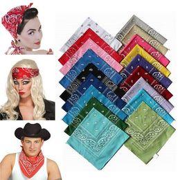 Wholesale Paisley Shawls Scarves - 100% Cotton Paisley Bandanas doublesided head wrap scarf 55*55cm 12pcs lot
