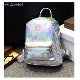 Wholesale Phone Hologram - Wholesale- New Arrival Hologram Laser Backpack Girl School Bag Women Rainbow Colorful Metallic Silver Laser Holographic Backpack,MF1619
