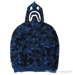 Wholesale Plus Size Camouflage - ape hoodie spring and autumn men's tide brand shark mouth camouflage printing plus cashmere Hood men and women Asian size hoodies