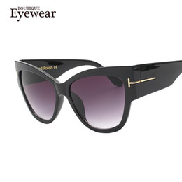 Wholesale Wholesale Steampunk Glasses - Wholesale-BOUTIQUE New Fashion Cat Eye Sunglasses Women Oversized Steampunk Vintage Sun Glasses For Ladies Retro Brand Designer