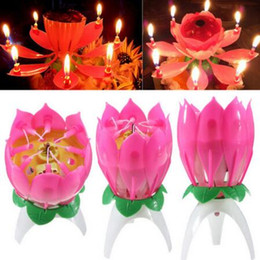 Wholesale Lotus Flower Party - New Velas Decorativas Music Candle Birthday Party Wedding Lotus Sparkling Flower Candles Light Event Festive Supply 100pcs lot CCA6350 1lot