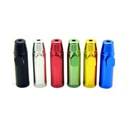 Wholesale Snuff Aluminum - Aluminum metal Bullet Rocket Shaped Snuff Snorter Sniff Dispenser Nasal Smoking Pipe Sniffer glass bongs Endurable smoking Pipe