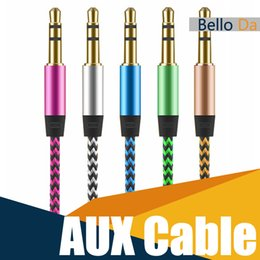 Wholesale Car Stereo Speaker Wire - Car Audio AUX Cable Nylon Braided 1M3F wired Auxiliary Stereo Jack 3.5mm for Apple and Andrio Mobile Phone Speaker