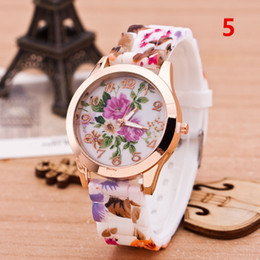 Wholesale Silicone Flower Watch - Blossom pattern Geneva Blossom Watch Women Dress Watch Flower Luxury Silicone Jelly Candy Rose Gold Blossom Quartz Watches Sports Watches