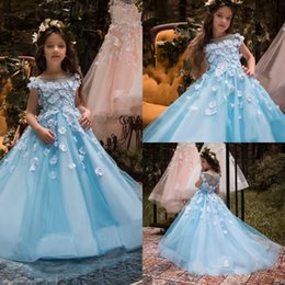 Wholesale 3d Girl Image Red Blue - Princess Light Blue Flower Girls Dresses For Weddings 3D Floral Appliqued Cap Sleeve Little Kids First Communion Dress Cheap Pageant Gowns