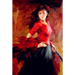 2019 flamenco danseuse peintures à l'huile Tableaux peintures femme espagnol danseuse danseuse de flamenco decoration murale peint promotion flamenco danseuse peintures à l'huile