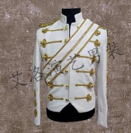 Wholesale Dress Suit Fashion Style - men suits designs stage costumes for singers men sequin blazer dance clothes jacket style dress punk rock fashion white black