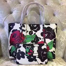 Wholesale Large Rose Flower - Milan fashion week high-grade Rose Leather shopping bag casual shoulder bag large printing large shopping bags