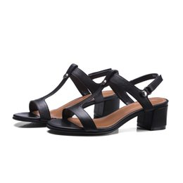 Wholesale Size 32 Sandals - wholesale PQECFS Big size 32-42 high quality 2017 summer fashion women solid genuine leather med heels sandals 2 colors