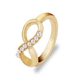 Wholesale Valentines Day Gold Rings - Women Infinity Ring Valentine Day Fashion Love Band Gold-Color Ring Cubic Zirconia Wedding Accessories Jewelry Size 6-9