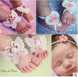 Wholesale Girls Feet Sets - Newborn Baby Barefoot Footwear sets Infant Flower Headbands Foot Flower Hair Band Set 3 PCS Girl Kids First Walker SL 001
