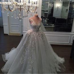 Wholesale Zuhair Murad Wedding Dress Cheap - Zuhair Murad light sky blue dress luxury beading ball gown lace 3D-Floral Appliques vintage wedding dresses bridal gowns cheap black girl