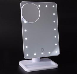 Wholesale Wholesale Makeup Tables - HIGH quality LED Cosmetic Mirror Large Table 20 LEDs Lamp Luminous Square Makeup LED Mirror Black White Pink