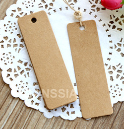 Wholesale Blank Hanging Gift Tags - Wholesale- 2.7x9cm (With cord) Brand new blank gift tag Wedding supplies Hang tags Kraft paper decoration bookmark (ss-1227)
