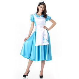 Wholesale Sexy Alice Wonderland Costumes - 2017 Alice In Wonderland Maid Blue Dress 10Pcs Lot Sexy Cosplay Halloween Costumes Uniform Temptation Club Party Clothing Hot Selling