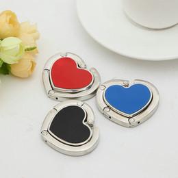 Wholesale Handbag Hook Holders Heart - Heart purse hook zinc alloy folding purse, handbag hanger bag accessories gift holder 4 colors available