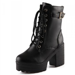 Wholesale Cosplay Platform Shoes - Wholesale-Plus size 34-43new 2015 gothic punk shoes cosplay boots platform sexy zip winter square heel lace-up mid-calf Motorcycle boots