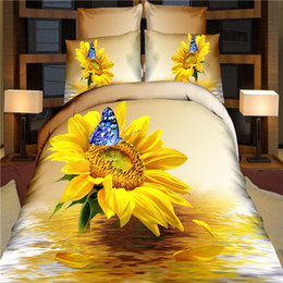 Wholesale 3d Butterfly Comforter Set - New Fashion 3d print 100% cotton Yellow sunflower water butterfly 4pcs duvet cover bedlinen textile bedclothes set Queen B3456