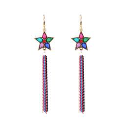 Wholesale Earrings Tibetan Resin - New Bohemian Jewelry Tibetan Style Star Charm Chandelier Earrings Long Tassel Drop Dangle Chain Earring Ear Hook Retro Cheap Fashion Jewelry