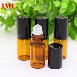 Wholesale Empty Glass Aromatherapy Bottles - Free Shipping Wholesale Small 3ml Glass Roll On Bottle Essential Oil Empty Aromatherapy Perfume Bottle + metal Glass Roller Ball