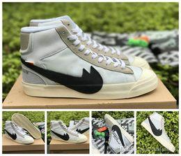 Wholesale Medium Blazer - 2017 Off White X Blazer MID OW Running Shoes Women Mens Fashion SB Sport Skateboard High Top White Black Stefan Janoski Sneakers 40-46