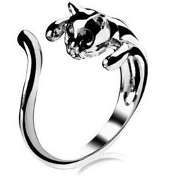 Wholesale Gemstone Cat - Cat Ring Diamond Animal Fashion Open Rings Adjustable Cluster Finger Silver Ring Cuff With Eyes Rhinestone Eyes Women Gemstone Jewelry DHL