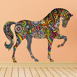 Wholesale Decorative Wall Vinyl - Wholesale- Creative Colorful Animal Horse Wall Sticker Mural Art House Decorative Vinyl Bedroom Room Home Decor 1pcs