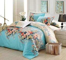 Wholesale Cotton Sheeting Material - Wholesale- 4pcs Blue Frolar Bedding Set Soft Cotton Fabric Material Include 1*Quilt Cover 1*Bed Sheet 2*Pillow Case