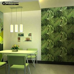 Wholesale Fiberglass Wall Insulation - Wholesale-Banana Leaf Restaurant wallpaper roll green Chinese style living room TV background wall paper