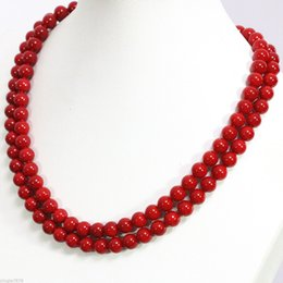 Wholesale Coral Beads Necklaces - New fashion 8mm red coral round beads necklace 34''