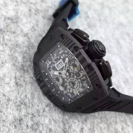 Wholesale Fiber Tags - Luxury Carbon Fiber Stainless ETA 7750 Movement RM011-FM Black Rubber Bracelets Date Mens Automatic Chronograph Watches Wristwatches For Me