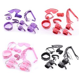 Wholesale Balls Bondage - Adult Game 7 pcs Pink BDSM Bondage Restraints Set Kit Ball Gag Cuff Whip Collar Fetish Sex Toy Sets Leather Bondage Collar