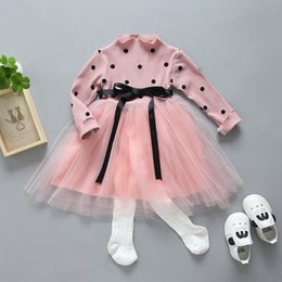 Wholesale Dots Gauze Dress - Children 's Dresses New 2017 Girls Dress Long Sleeve Polka Dots Lace Dress Bowknot Waistband Gauze Baby Princess Party Dressy Pink A6367