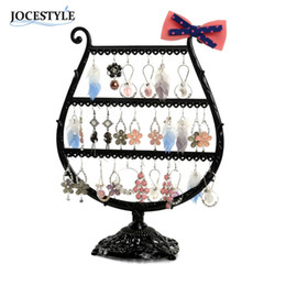 Wholesale Bow Metal Jewelry - Black Bronze Earring Holder Stand Display Cup Bow Metal Jewelry Display Rack Holder 2017 New Arrival