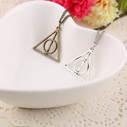 Wholesale Antique Ship Chain - Harry Book The Deathly Hallows Necklace Antique Silver Bronze Deathly Hallows Pendants Potter Fashion Jewelry Drop Shipping