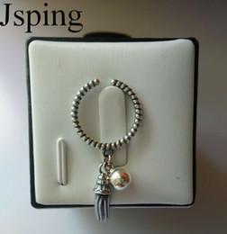 Wholesale Long Sterling Rings - 100% 925 Sterling Silver Long Tassel Ball Rings Women Twist Open Size Cuff Rings Sterling Silver Jewelry Xmas Gifts