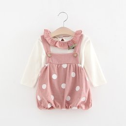 Wholesale Dress Baby Girl Polka - Girls Polka Dot Suspender Dresses 2 Piece Set Ruffle Collar Top 2017 Spring New Kids Boutique Clothing Baby Girls Cute Outfits