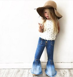 Wholesale Tight Jeans Baby - 6pcs lot New 2017 Fashion kids Children Jeans girls Trousers Baby Girls Flare pants children pantyhose tights long pants bell bell-bottoms
