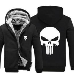 Wholesale thick fleece jackets men - Wholesale- Anime skull The Punisher hoodies men 2017 spring winter jacket for men fleece thicken men sweatshirts men's coat brand-clothing