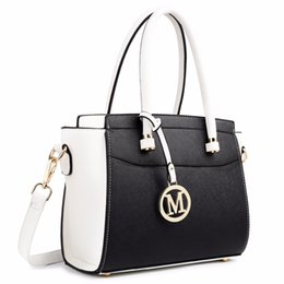 Wholesale Miss Handbags - Wholesale- Miss Lulu White Black Fashion Small Women Classic M Letter PU Leather Handbag Zip Shoulder Tote Hand Bag Cross Body Satchel 1625