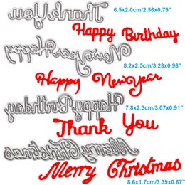 Wholesale New Scrapbook - Letter Happy New Year DIY Metal Cutting Dies Stencil Scrapbook Card Album Paper Embossing Crafts