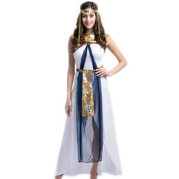 Wholesale Ethnic Clothes Men - Sexy Cleopatra Costume Queen Goddess Cosplay Women Girls Egyptian Halloween Costume Ethnic Clothing