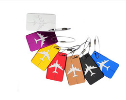 Wholesale Luggage Name Tags - Aluminum Alloy Luggage Tag Airplane Travel Accessories Business Baggage Suitcase Label Name ID Address Hangtag Holder